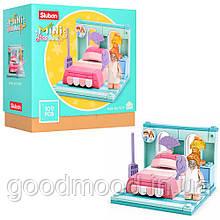 """Конструктор SLUBAN M38-B0757F """"Mini Handcraft"""": спальня, ліжко, фігурка, 109 дет."""
