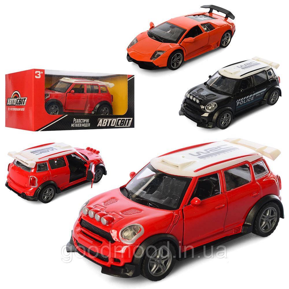 Машина AS-2333 АвтоСвіт, мет., інерц., відчин.двері, гум.колеса, 3 види, кор., 16.5-7-7 см.