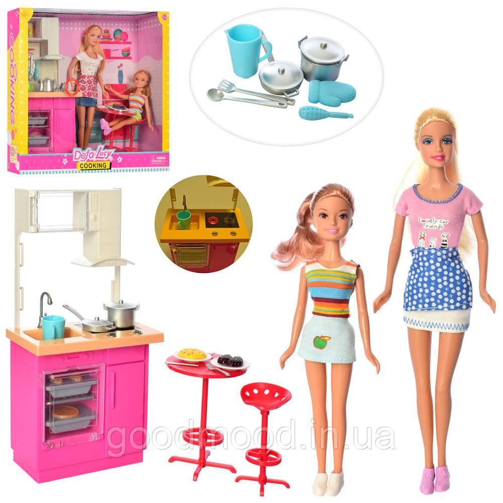 Лялька DEFA 8442-BF дочка, кухня, посуд, 2 види, світло, бат.-таб., кор., 36,5-31,5-9,5 см.