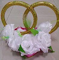 """Свадебные кольца для авто """"Розы"""" (белые)"""