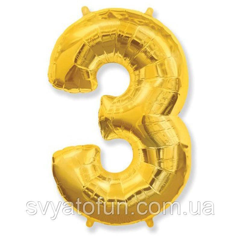 Фольгированный шар цифра 3 золото FlexMetal