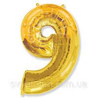 Фольгированный шар цифра 9 золото FlexMetal