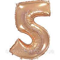 Фольгований куля цифра 5 рожеве золото Flexmetal
