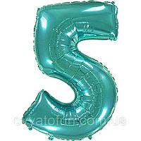 Фольгированный шар цифра 5 тиффани Flexmetal