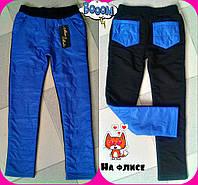 Детские теплые брюки для девочки т. плащевка на флисе / электрик