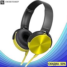 Беспроводные Bluetooth наушники XB450BT Gold - Bluetooth гарнитура / FM радио / MicroCD карта, фото 2