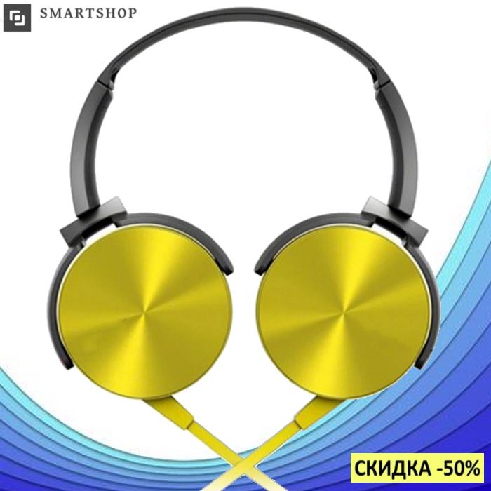 Беспроводные Bluetooth наушники XB450BT Gold - Bluetooth гарнитура / FM радио / MicroCD карта