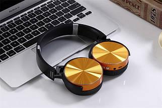 Беспроводные Bluetooth наушники XB450BT Gold - Bluetooth гарнитура / FM радио / MicroCD карта, фото 3