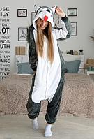 Детская пижама Кигуруми собака Хаски серая 140 (на рост 138-148см)
