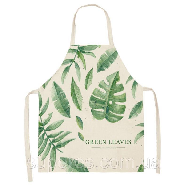Фартук яркий рисунок Green leaves