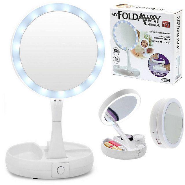 Настольное круглое косметическое зеркало с LED подсветкой My Fold Away