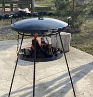 Большая сковорода 50 см из диска бороны с подставкой для огня крышкой и чехлом (разборные ножки)