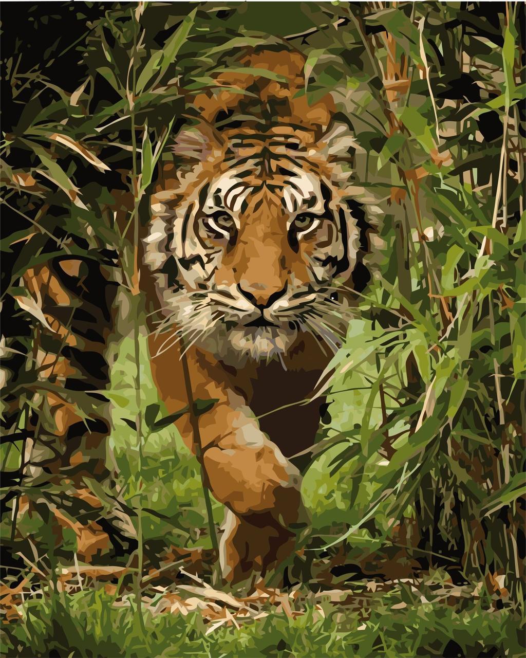 КНО4043 Раскраска по номерам Король джунглей, Без коробки
