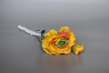 Искусственный цветок Лютик, 35 см, желтый, ткань, пластик (630089)