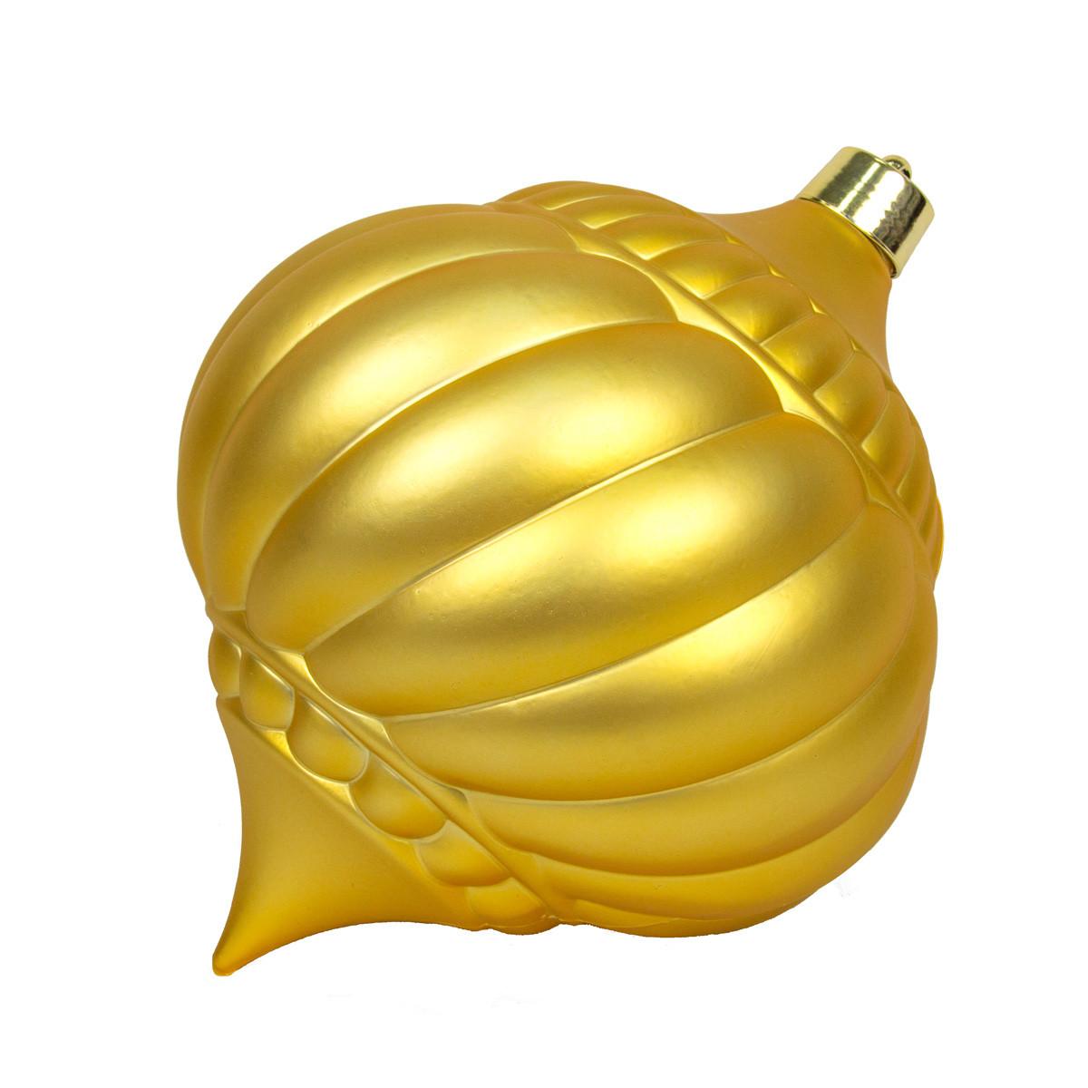 Большая елочная игрушка - тыква, 30 см, золотистый, пластик (890223)