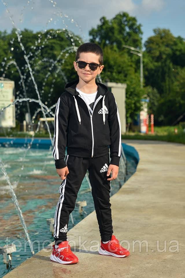 Спортивний дитячий костюм трійка для хлопчика чорний Adidas Адідас