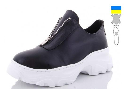 Туфли кожаные женские черные Mermaid-200-1B