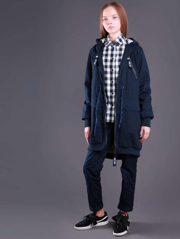 Куртка парку для дівчинки тм Моне (синя і чорна) р-ри 122,128,134,140,146,152,158,164