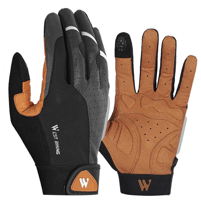 Перчатки велосипедные спортивные West Biking 0211197 L Brown с пальцами и откликом на сенсор