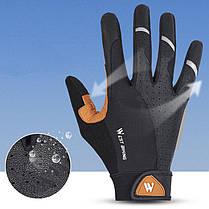 Перчатки велосипедные спортивные West Biking 0211197 L Brown с пальцами и откликом на сенсор, фото 3