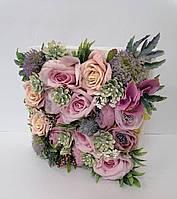 Композиция из искусственных цветов Волинські візерунки в деревянном кашпо (сиреневая)