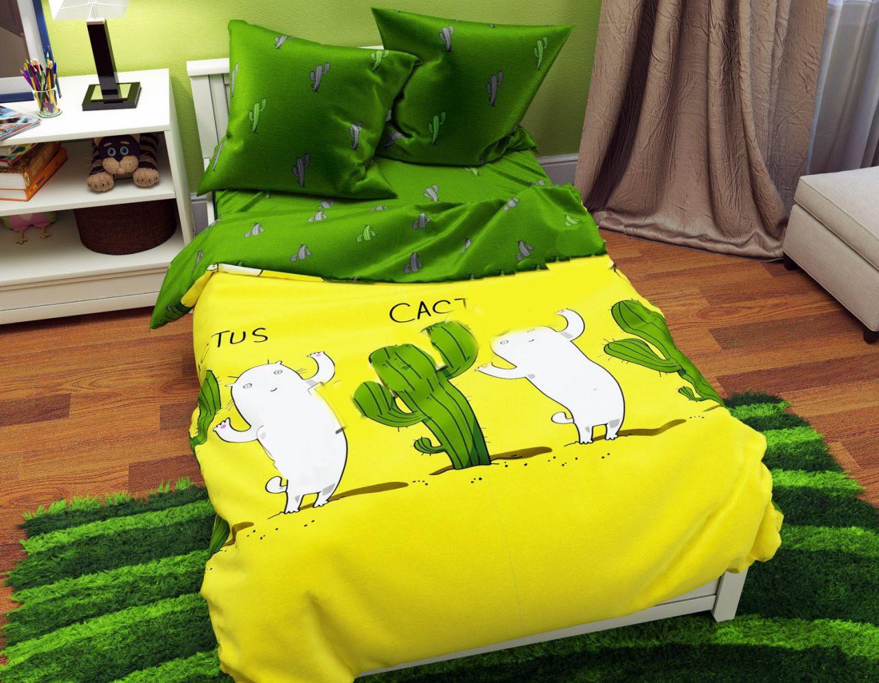 Семейное постельное белье-Кактусы зеленая простынь