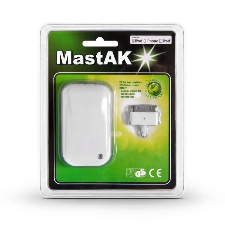 Сетевое зарядное устройство MastAK MFi-011 2.1A + USB кабель 30pin для iPod, iPad,iPhone 3/4 White