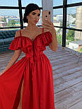 Довге плаття з воланом на грудях і бретелями 66031466Q, фото 6
