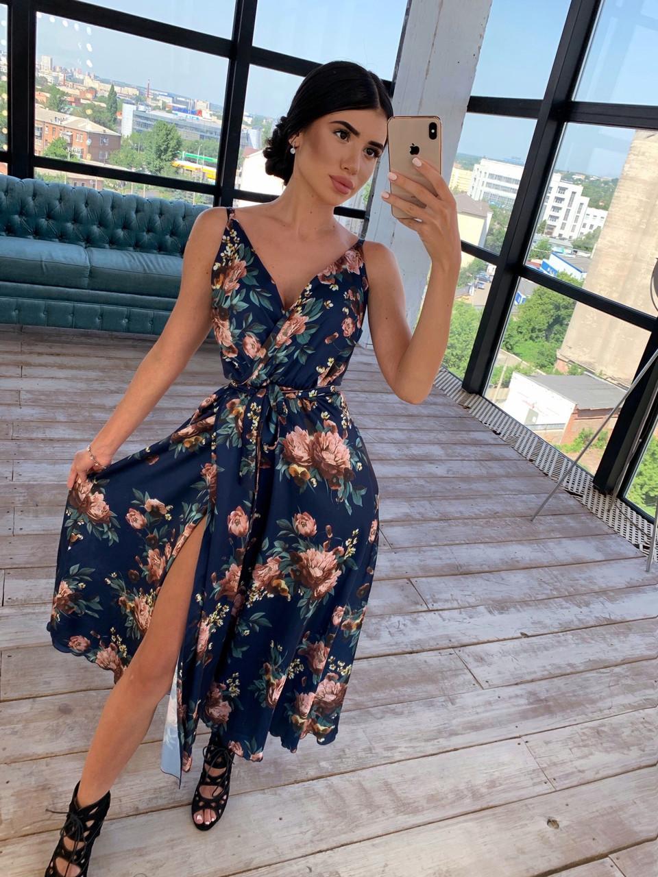 Шовкове принтована сукня на запах з бретелями 66031472Q