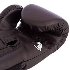 Перчатки боксерские PU на липучке VENUM 12oz черные BO-8353-BK, фото 3