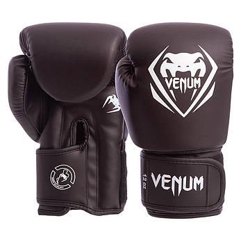 Перчатки боксерские PU на липучке VENUM 12oz черные BO-8353-BK, фото 2