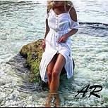 Летнее белое коттоновое платье с открытыми плечами и длиной миди 79031481, фото 3