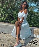 Летнее белое коттоновое платье с открытыми плечами и длиной миди 79031481, фото 4