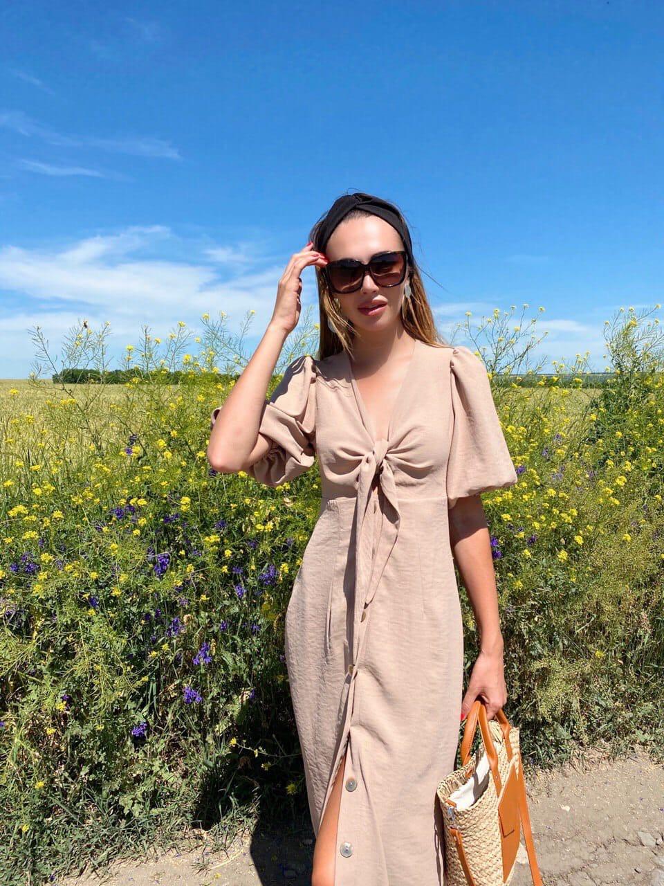 Лляне плаття літнє із зав'язкою на грудях і рукавом-ліхтариком 36031484