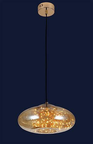 Люстра со стеклянным плафоном с нитями внутри подвесная 12W LV 7529764-LED AMBER, фото 2