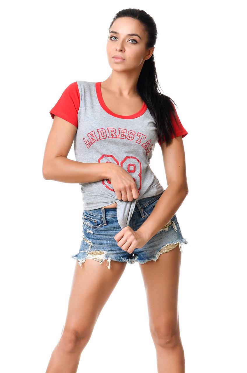 Жіноча молодіжна бавовняна футболка з краснимы рукавами і окантовкою по лінії вирізу сіра