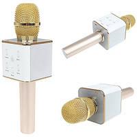 Портативный беспроводной микрофон караоке Q7 без чехла розово-золотой
