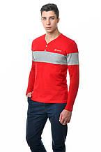 Оригінальна чоловіча хлопкавая футболка з довгим рукавом з контрастною сірою лінією по грудях і рукавах красна