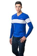 Оригинальная мужская хлопкавая футболка с длинным рукавом с контрастной белой линией по груди и рукавах цвета