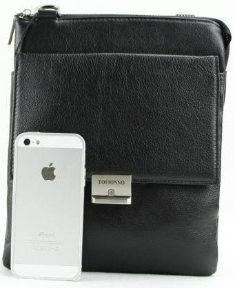 Практичная, стильная кожаная сумка Tofionno 024012-3 черная