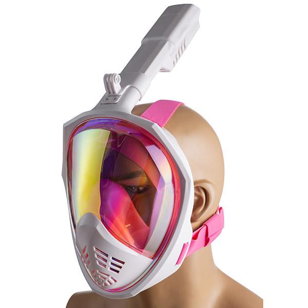 Маска полнолицевая зеркальная розовая S/M