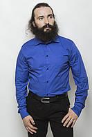 Стильная класическая мужская приталенная рубашка синяя