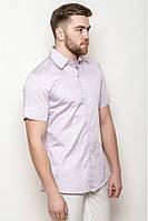 Оригинальная класическая мужская рубашка приталенного силуэта светло-розовая