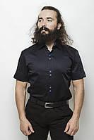 Оригинальная класическая мужская рубашка приталенного силуэта темно-синий