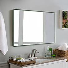 Зеркало для ванной в алюминиевой раме, темно - зеленый цвет