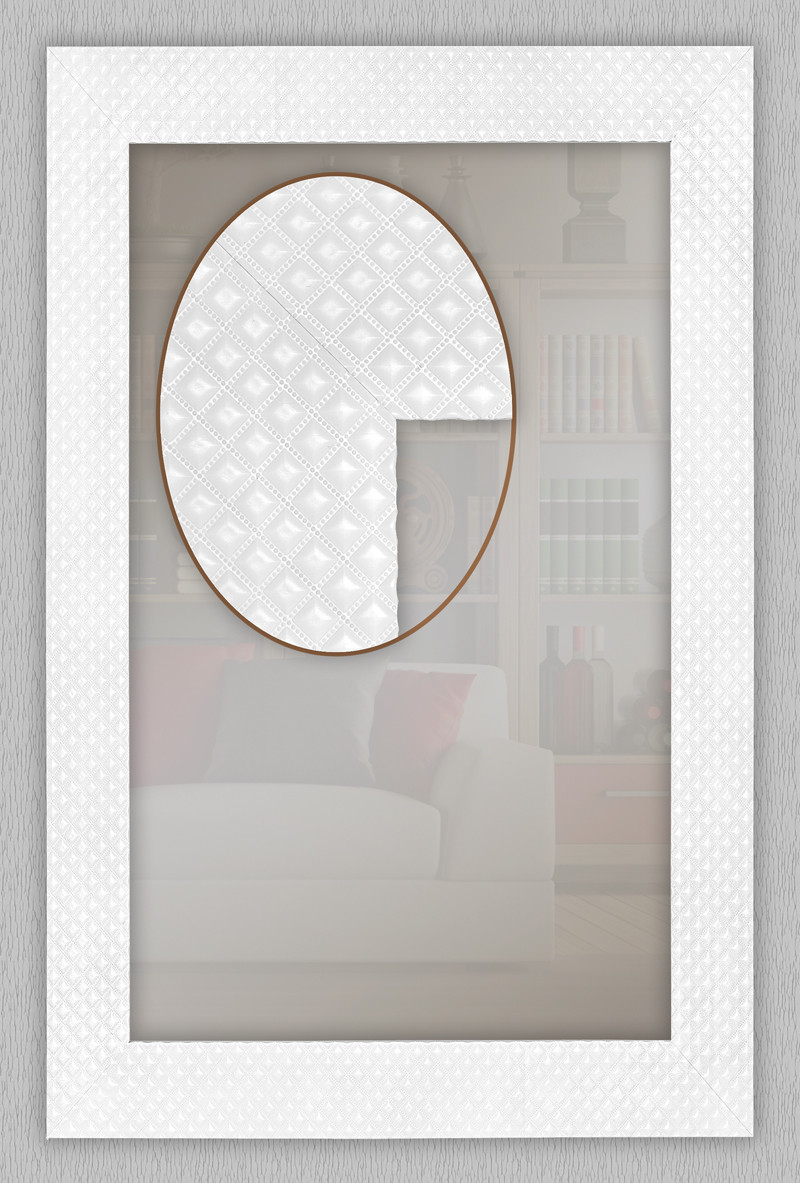 Дзеркало в білій рамі 600х600