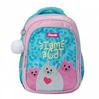 Школьный рюкзак для девочки 1 Вересня I am a cat: каркасный школьный ранец