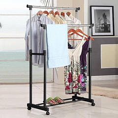Вешалка стойка для одежды напольная двойная телескопическая Double-Pole Clothes-horse Black