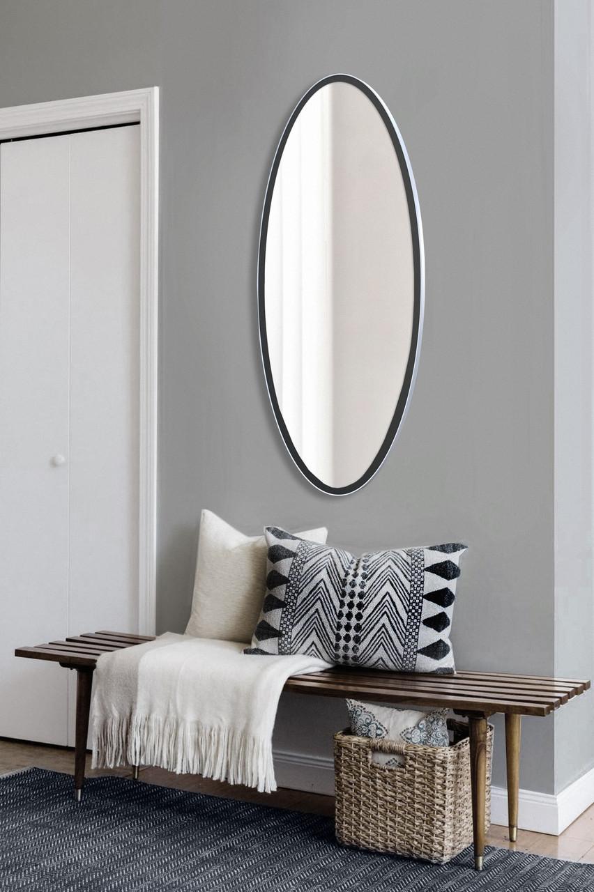 Овальное зеркало, черно - белое 1300х600 мм