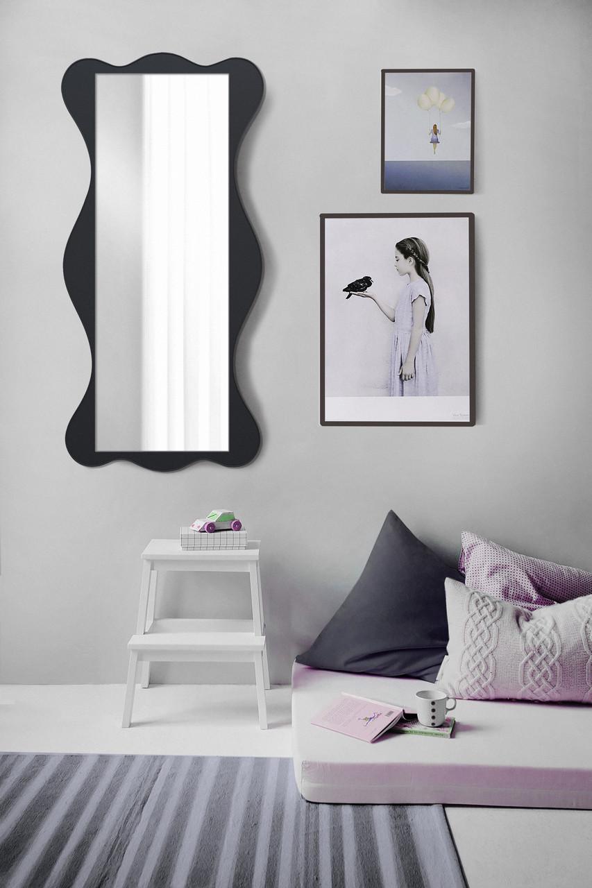 Настенное зеркало, черное 1300х600 мм